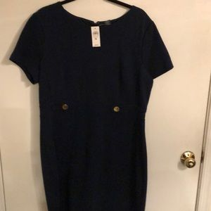 NWT Ann Taylor navy dress with gold buttons